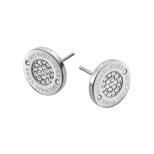 Michael Kors Silver Tone Logo Pave Stud Earrings