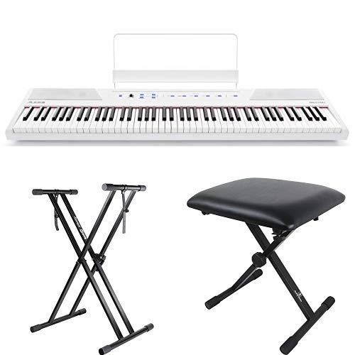 Alesis 88鍵盤 初心者向け電子ピアノ フルサイズ・セミウェイト鍵盤 Recital ホワイト【アマゾン限定】キーボードスタンド・ピアノ椅子セット