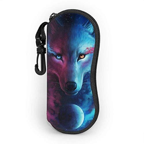Where Light And Dark Meet Galaxy Wolf Sunglasses Soft Case Zipper Eyeglass Case Protective Holder With Belt Clip 17x8cm