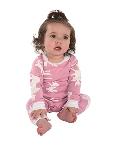 Classic Moose Pink Baby Flapjack Onsie Pajamas by LazyOne | Adult Kid Infant Dog Family Matching Pajamas (12 MO)