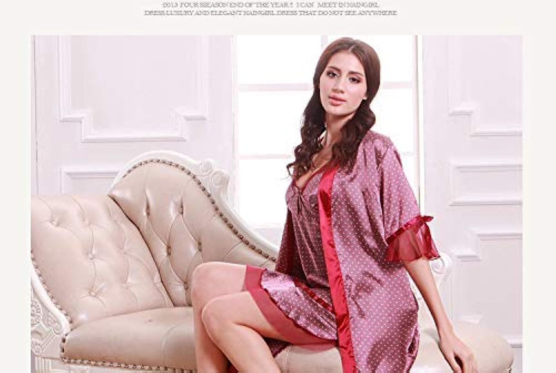 Pyjamas, Simulation Silk Pajamas Ladies Spring Sling Robe Silk Home Service Two-Piece Suit (color   Red) (color   Red)