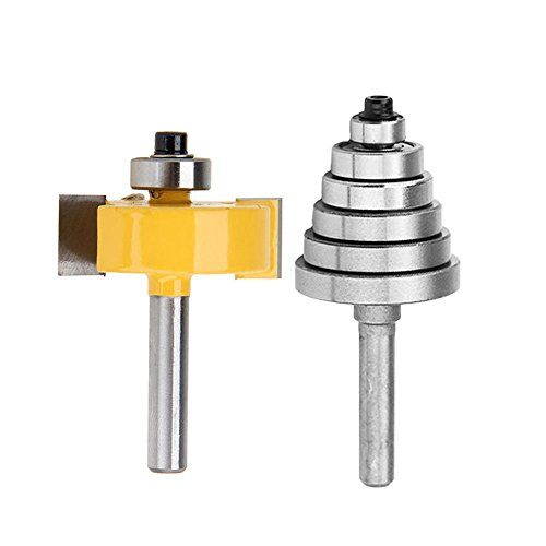"Yakamoz 1/4 Inch Shank Rabbet Router Bit with 6 Bearings Set | 1/8"", 1/4"", 5/16"", 3/8"", 7/16"", 1/2"" Bearings"
