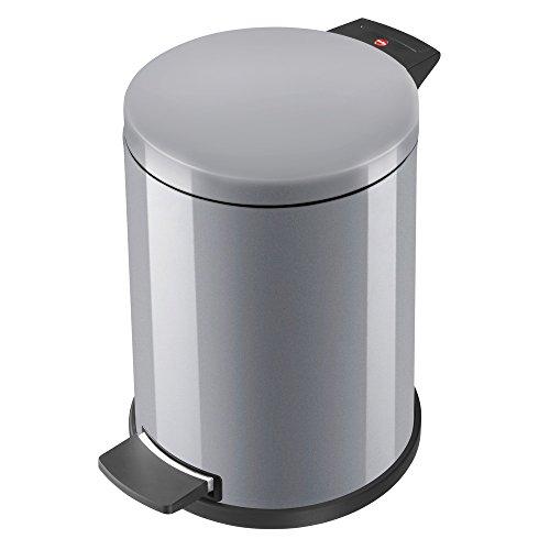 Hailo Solid M Mülleimer , 1 x 12 Liter , Treteimer mit Kunststoff Inneneimer , Tretmülleimer , Tragegriff , Stahlblech , Anti-Rutsch-Füße , Mülleimer Küche rund , Made in Germany , silber