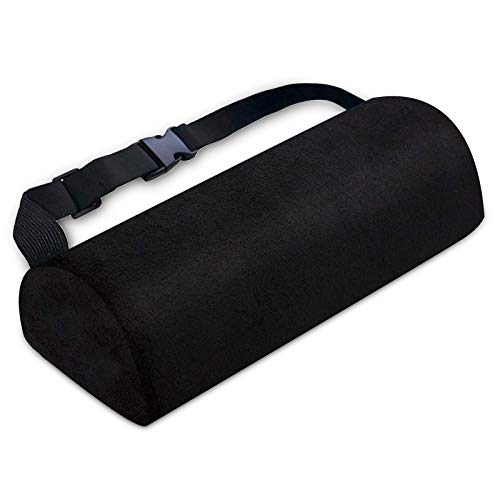 Lumbar Support Pillow for Chair-Lumar Roll Bolster Pillow for Back Pain Relief-Semi-roll Back Support Pillow for Office Home Car&Trip-Half Round Multipurpose Body Support Cushion with Adjustable Strap