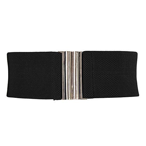 GRACE KARIN Black Retro Wide Metal Interlock Buckle Womens Elastic Waistband M CL409-1
