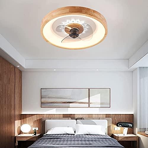 Ventilador de madera de dormitorio con luz de techo y control remoto silencioso 3 velocidades regulables DIRIGIÓ Luz del ventilador de techo con el temporizador de la sala de estar tranquila ventilado