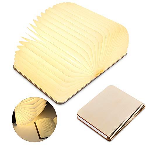 LED Buch lampe,LED Stimmungslicht mit 2500 mAh Akku Lithium Nachttischlampe,Schreibtisch Lampe ideal als Buchlampe Tischlampe Wandleuchte Innenbeleuchtung,Holz Einband warmweiß Licht