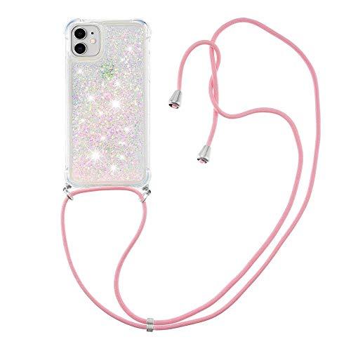 """Nadoli Handykette Hülle für iPhone 12 Mini 5.4"""",Durchsichtig Glitzer Treibsand Flüssigkeit Silikon Handykordel Necklace Schutzhülle Handyhülle mit Umhängeband"""