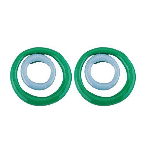 Aeici Verde Pendientes de Moda Mujer Diseño Unico Doble Redondo Expoxy 34X34Mm