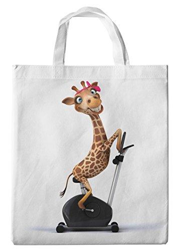 Merchandise for Fans Einkaufstasche- 38x42cm, 8 Liter - Motiv: 3D Comic Giraffe auf dem Ergometer - 04