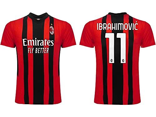 Camiseta de fútbol del Milán temporada 2021 2022. Camiseta Ibrahimovic número 11. Primera camiseta. Producto con licencia del club. Réplica oficial. Tallas de adulto y niño., Rosetón, S