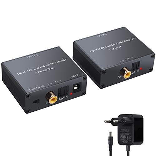 PROZOR Extender Audio Digitale Ottico/Coassiale 150M Ethernet Trasmettitore + Ricevitore Toslink SPDIF Extender per Cat5e/6 Audio Digitale Convertitore supporta Dolby Digital DTS 5.1 DTS-HD PCM