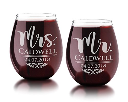Classy 21oz Wife Husband Mr Mrs Personalized Stemless Wine...