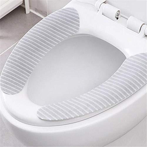 Toiletbril, 3 paar badmatten, rond, badaccessoires, wasbaar, universeel, toiletbrilhoes, velours, wc-stickers voor thuis