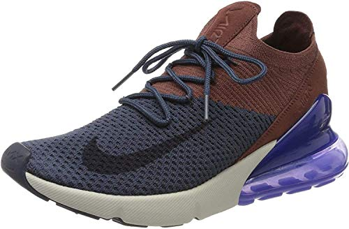 Nike Herren Air Max 270 Flyknit Fitnessschuhe, Mehrfarbig (Thunder Blue/Gridiron/Red Sepia 402), 44 EU