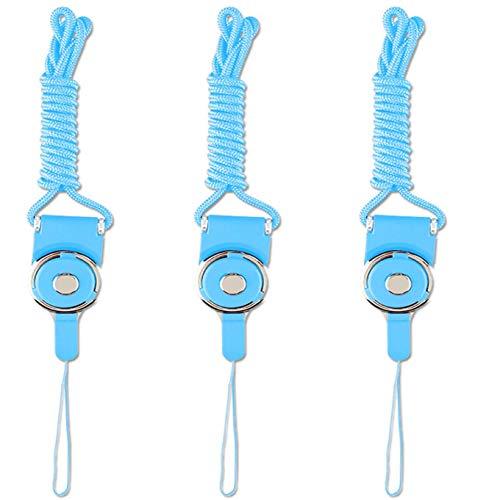 Abnehmbares Umhängeband für Handy, Kamera, iPod, MP3, MP4, USB-Stick, ID-Karten, Abzeichen, Schlüsselanhänger, Pfeifen-Gurt mit einem Lanyard-Loch, Pink + Blau, 3 Stück, Blau Blau Blau Blau
