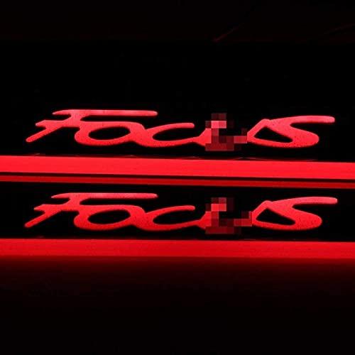 iconxc para Ford Focus Luces LED Umbral de Puerta Protector Decorar Pisada Puerta Decorativa Antideslizante Tira de protección antiarañazos Estilismo Accesorios Decorativos 4 Piezas