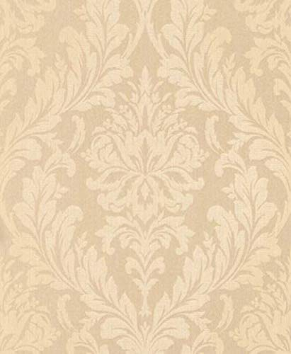 Casa Padrino Barock Textiltapete Apricot/Creme 10,05 x 0,53 m - Wohnzimmer Tapete - Deko Accessoires im Barockstil
