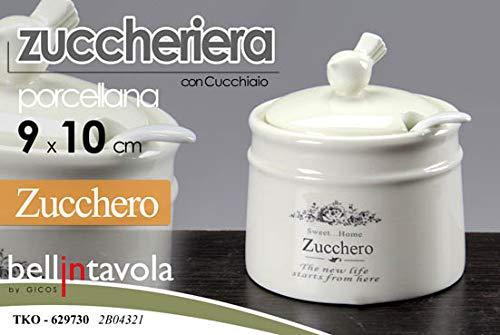 Gicos Barattolo Porta Zucchero zuccheriera con Cucchiaio 9 * 10 cm in Porcellana Decoro Sweet Home TKO-629730