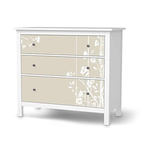 creatisto Möbeltattoo passend für IKEA Hemnes Kommode 3 Schubladen I Möbelaufkleber - Möbel-Folie Tattoo Sticker I Wohn Deko Ideen für Esszimmer, Wohnzimmer - Design: Florals Plain 3