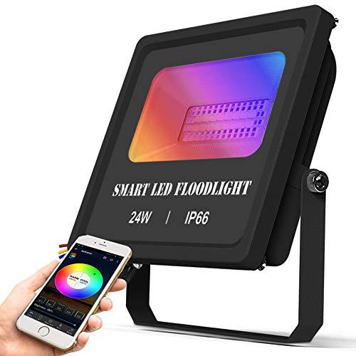 Bluetooth 24W LED Strahler RGBWC Dimmbar, CCT LED Flutlicht Farbig Fluter Außenstrahler Flutlichtstrahler 16 Millionen Farben Musik Rhythmus Timer, IP66 Wasserdicht Flood Licht für Beleuchtung Aussen