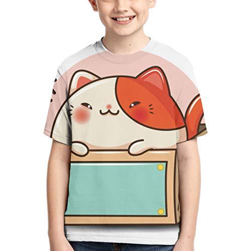 Sula-Lit T-Shirt für Jungen und Mädchen, Rundhalsausschnitt, kurzärmelig, Bedruckt, für Kinder, Teenager, süße Katze, Cartoon, Haustier-Shop, Concept 1, Schwarz Gr. L, Schwarz