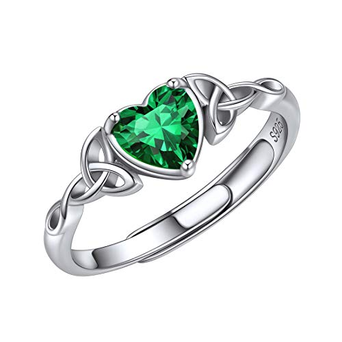 ChicSilver 6mm May Birthstone Rings for Women 925 Sterling Silver Celtic Knot Green Emerald Heart Rings Comfort Fit Wedding Band