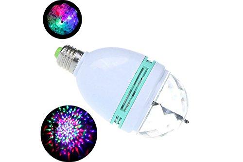 Lampada lampadina led rgb rotante multicolore 3W attacco E27 giochi di luce per feste pub discoteca MWS