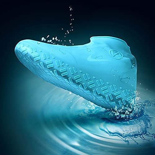 QYTS Fundas impermeables para zapatos reutilizables y plegables de silicona, para zapatos de lluvia, antideslizantes, lavables, con cremallera, protectores de zapatos para exteriores