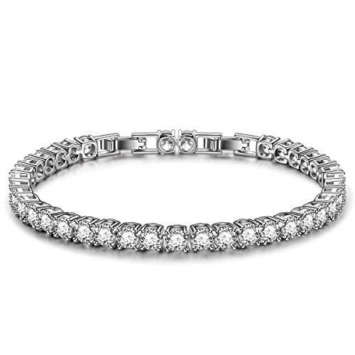 Kami Idea Bracelet, Eternity, Tennis Bracelet, White Gold Plated, 5A Cubic Zirconia, Jewellery Box