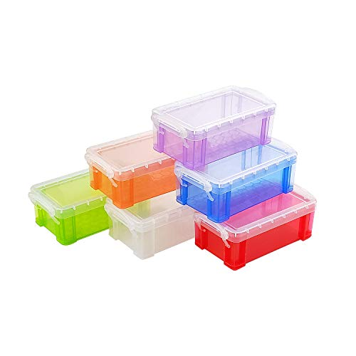 6 Pack Plastic Crayon Storage Boxes Organizer Colorful Storage Containers Box Fishing Sewing Tool Pen Pencil Storage Container Box Case for Craft Office Supplies, Makeup Items