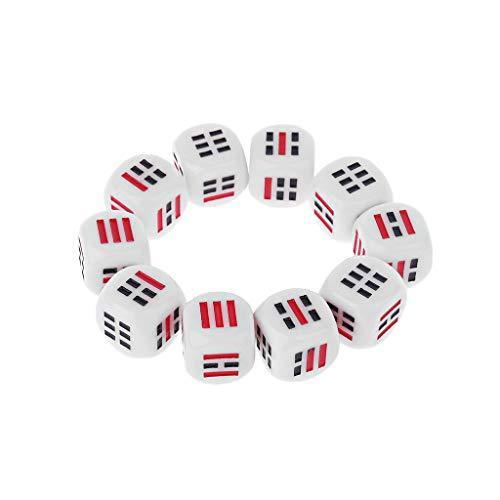 Only 10 Stück Dice D6 Sets blickdicht Würfel – 16 mm Würfel Spiele aus Acryl – Würfelspiel für Reise Wahrsagen Ba Gua 8 Trig Zubehör
