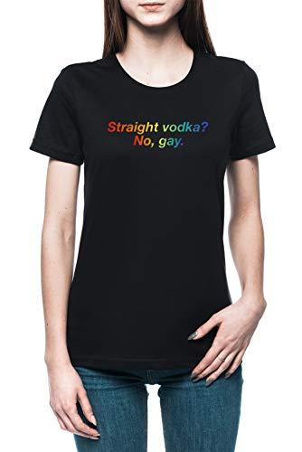 Homoseksueel Wodka - Kleding Dames T-shirt Tee Zwart Women's Tee Black