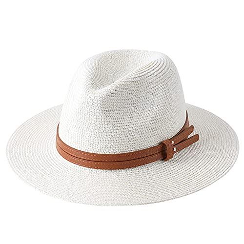 56-58-59-60CM Sombrero de Paja de Forma Suave Verano Mujeres/Hombres Gorra de Playa de ala Ancha Sombrero Fedora de proteccin UV-Milky white-2-59cm