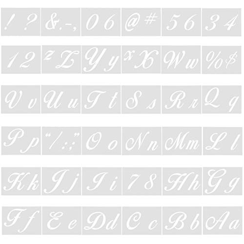 Jinlaili 36 Pezzi Arte Lettere Stencil, Stencil Alfabeto in Plastica, DIY Calligrafici Stencil con Lettere Maiuscole e Minuscole Numeri e Segni, Arte Craft Stencil per Arte Amanti, 21x15 cm