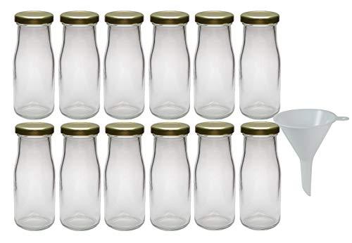 Viva Haushaltswaren - 12 x Glasflasche 156 ml mit goldfarbenem Schraubverschluss, als Milchflasche, Saftflasche & Smoothieflasche verwendbar (inkl. Trichter Ø 7 cm)