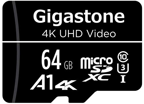 Gigastone 64GB Micro SD Card, 4K UHD Video, Surveillance Security Cam Action Camera Drone Professional, 90MB/s Micro SDXC UHS-I A1 Class 10