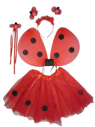 Tante Tina Marienkäfer Kostüm Mädchen - 4-teiliges Mädchen Kostüm Marienkäfer mit Tüllrock , Flügel , Zauberstab und Haarreif - Rot / Schwarz - geeignet für Kinder von 2 bis 8 Jahren