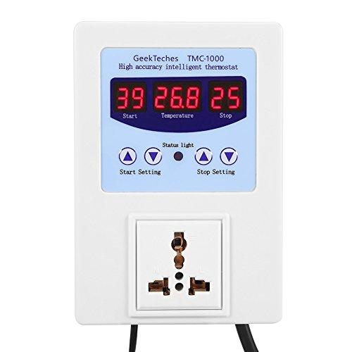TMC-1000 AC110-240V Controlador de temperatura digital 10A LED Controlador de temperatura inteligente digital precableado con sensor para germinación de semillas Eclosión de reptiles(US Plug)