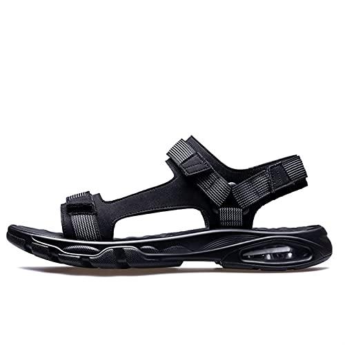 WENJIA Sandalias Deportivas Recortadas de Verano para Hombres Zapatos de Gancho y Bucle Ajustables Casuales con un Masaje de la Banda de Tela Abierta de Punta Abierta. (Color : Black, Size : 42 EU)