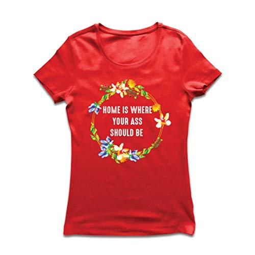 lepni.me Camiseta Mujer Auto Cuarentena El Hogar es tu Trasero Debe Ser Quédate en Casa (Large Rojo...