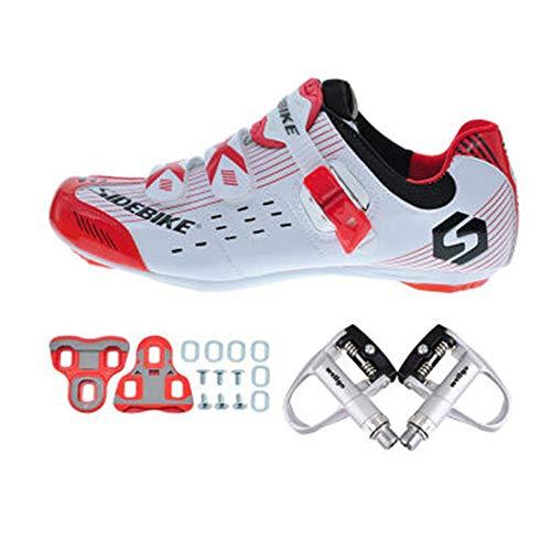 SIDEBIKE Zapatos de Ciclismo con Pedales y Calas, Zapatillas de Ciclismo de Carretera para Adultos, Zapatos de Bicicleta Resistente al Viento Transpirable de Nylón y Cuero Sintético (41)