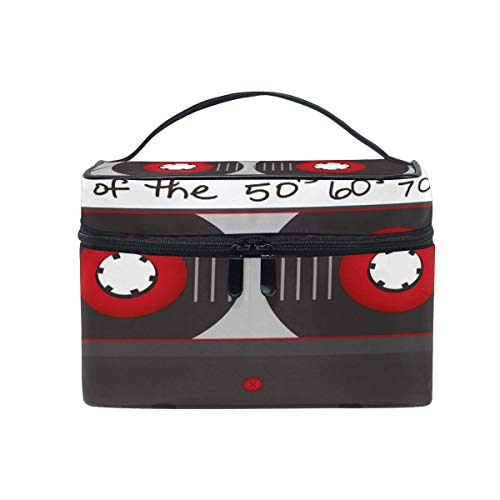 Reise Make-up Tasche Vintage Kassette Muster tragbare Kosmetik Fall Veranstalter Kulturbeutel Tasche...