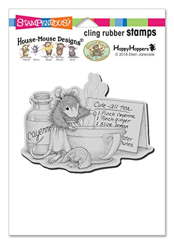 Stampendous House Mouse Cling Stamp-Cure All Tea, Grey