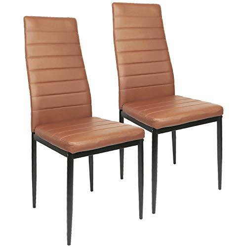 2X Set de Sillas de Comedor, Asiento y Respaldo Acolchado,Silla Cantilever,Set sillas Comedor Chelsea tapizadas,certificada por la SGS,de Comedor para Oficina, Cocina, Dormitorio,MAX Carga 120 kg