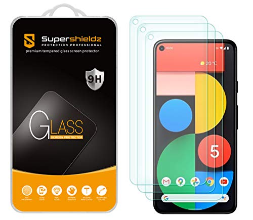 (3 Pack) Supershieldz for Google Pixel 5 Tempered Glass Screen Protector, 0.33mm, Anti Scratch, Bubble Free