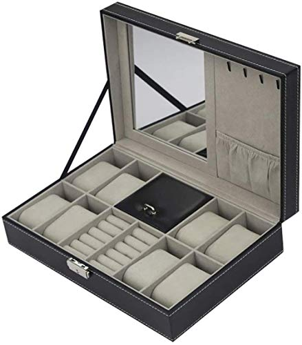 Caja de almacenamiento de joyería negra de 8 piezas, caja de almacenamiento para relojes con cerradura y espejo para mujeres y niñas