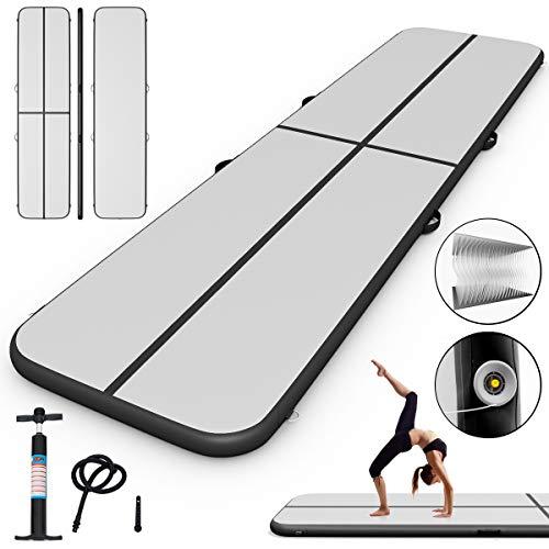 COSTWAY Air Track Aufblasbar Gymnastikmatte Tumbling Matte Air Bodenschutzmatte für Gym Training Yogamatte Trainingsmatten Weichbodenmatte Turnmatte Fitnessmatte Tragbar (Schwarz, 400x100x10cm)