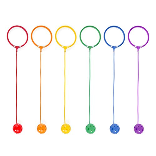 Champion Sports Skip Ball Ankle Toy for Kids, Pack of 6, Assorted Colors - Durable Hopper / Swingball Set with 18-Inch Cord, 5.5-Inch Diameter Ankle Ring - Fun Jumper and Exercise Equipment
