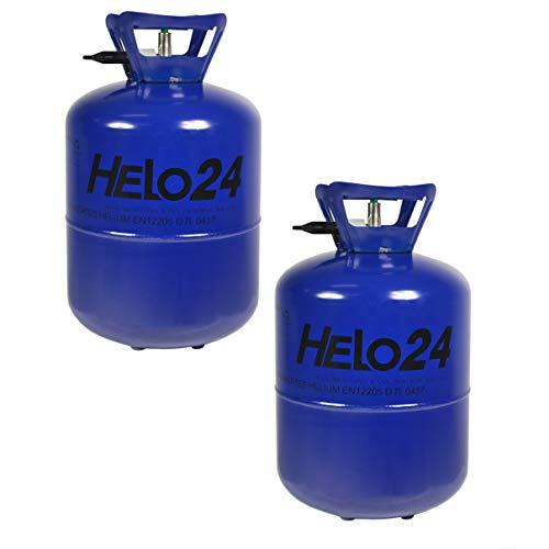 Helo - Juego de 2 bombonas de helio para globos, bombonas de gas con dispositivo de bloqueo y válvula para facilitar el llenado, 2 botellas de gas de 7,1L o 13,4 L